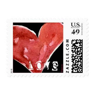 Black Love Heart Watercolor Square Small Postage