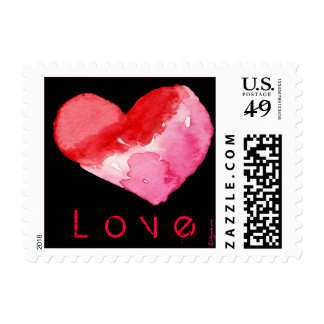 Black Love Heart Watercolor Square Stamps