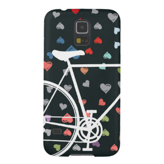 Black Love hearts Abstract Bicycle Case For Galaxy S5