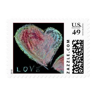 Black Love Hearts Design Small Postage Square