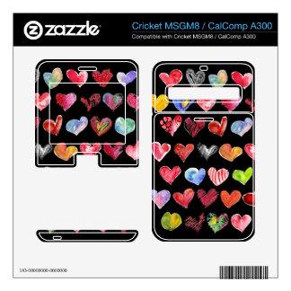 Black Love Hearts on all Cricket Phone Skins Cricket MSGM8 Skin