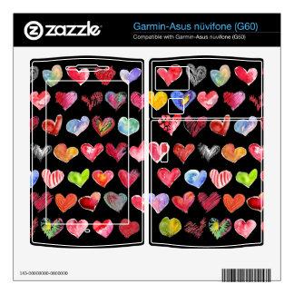 Black Love Hearts on all Garmin Phone Skins Garmin Asus Nuvifone Skin