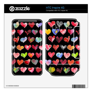 Black Love Hearts on all HTC Inspire Phone Skins Skins For HTC Inspire 4G