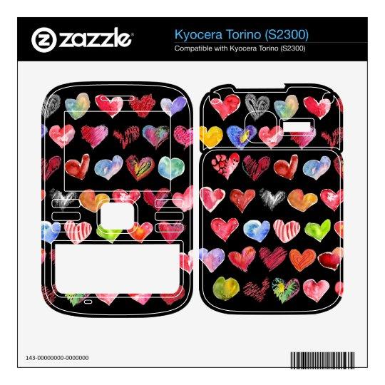 Black Love Hearts on all Kyocera Phone Skins Skins For Kyocera Torino