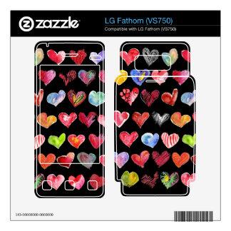 Black Love Hearts on All LG Phone Skins Skins For The LG Fathom