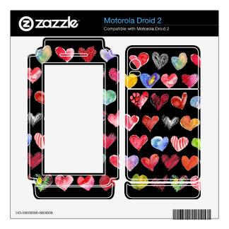 Black Love Hearts on All Motorola Phone Skins Motorola Droid 2 Skin