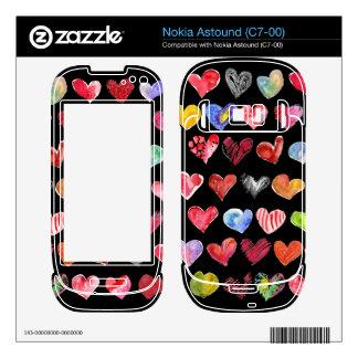 Black Love Hearts on All Nokia Phone Skins Nokia Astound Skins