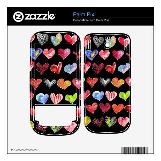 Black Love Hearts on All Palm Phone Skins Palm Pixi Skin