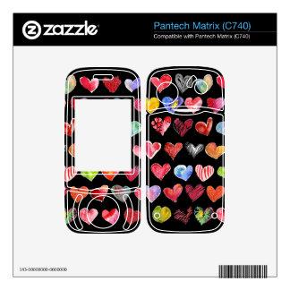 Black Love Hearts on All Pantech Phone Skins Decal For Pantech Matrix