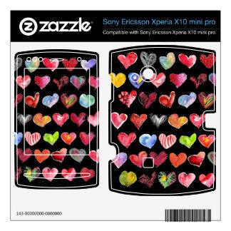 Black Love Hearts on All Sony Phone Skins Xperia X10 Skins