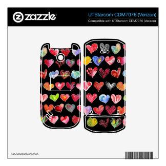 Black Love Hearts on UTStarcom Phone Skins