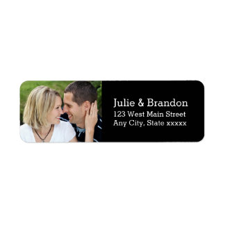 Black Love Wedding Photo Return Address Labels