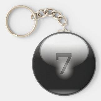 Black Lucky 7 Basic Round Button Keychain