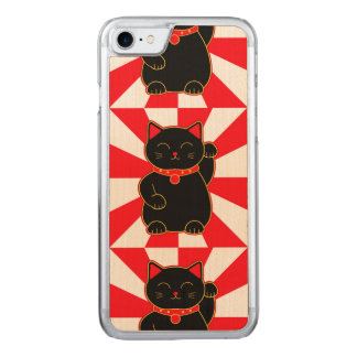 Black Lucky Cat Carved iPhone 8/7 Case
