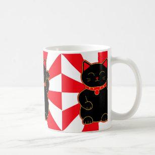 Black Lucky Cat Coffee Mug