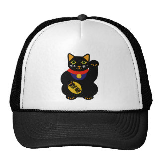 Black Lucky Cat Trucker Hat