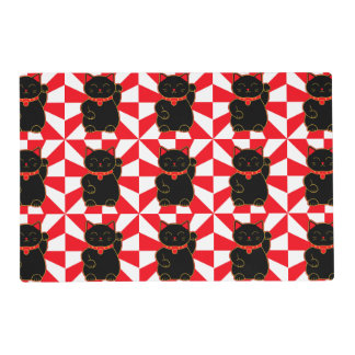 Black Lucky Cat Placemat