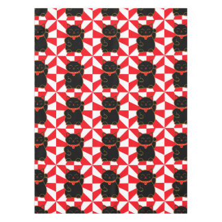 Black Lucky Cat Tablecloth