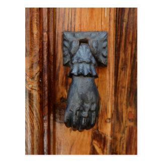Black lucky hand door knocker postcard