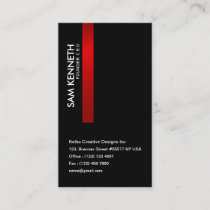Black Luminous Red Stripe CEO Business Card