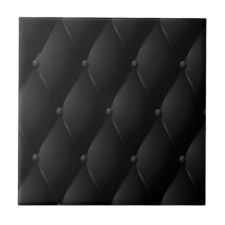 Black luxury buttoned leather tile