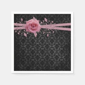 Black Luxury Damask Pink Rose Napkins