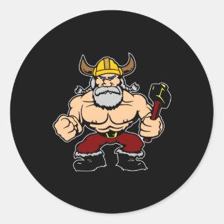 Black Mad Viking Classic Round Sticker