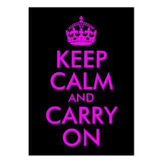 Black Magenta Keep Calm and Carry On Business Cards