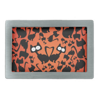 Black magic cat pattern on a red background belt buckle