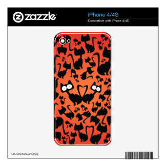 Black magic cat pattern on a red background decal for iPhone 4