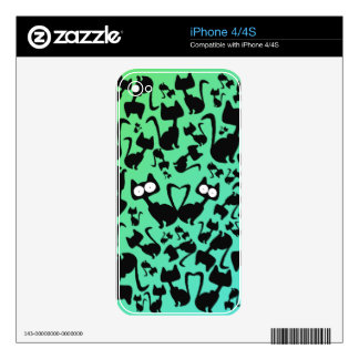 Black magic cat pattern on a red background iPhone 4 decal