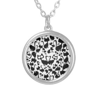Black magic cat pattern on a red background round pendant necklace