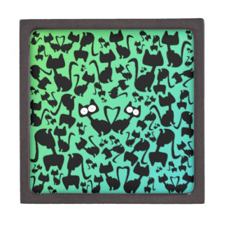 Black magic cat pattern on a red background premium trinket box