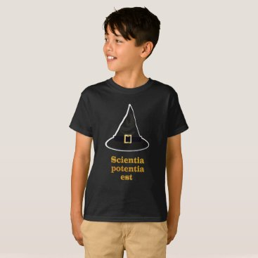 Halloween Themed Black magic Hat, gold Latin Quote, knowledge T-Shirt