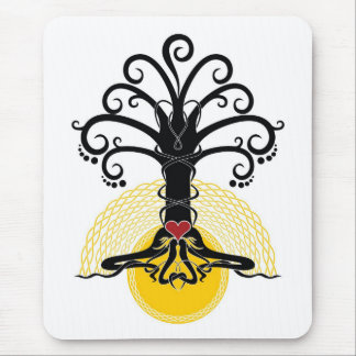 Black magic tree with red heart on it mouse pad