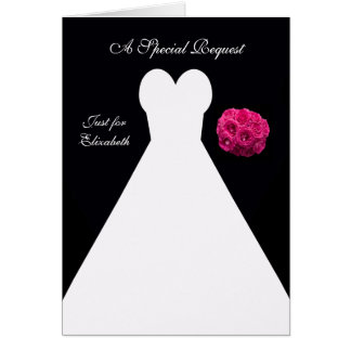Black Maid of Honor Card -- Bridal Gown