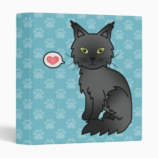 Black Maine Coon Cat Cartoon Illustration 3 Ring Binder