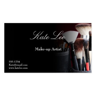 Black Make-up brush cosmetology business cards
