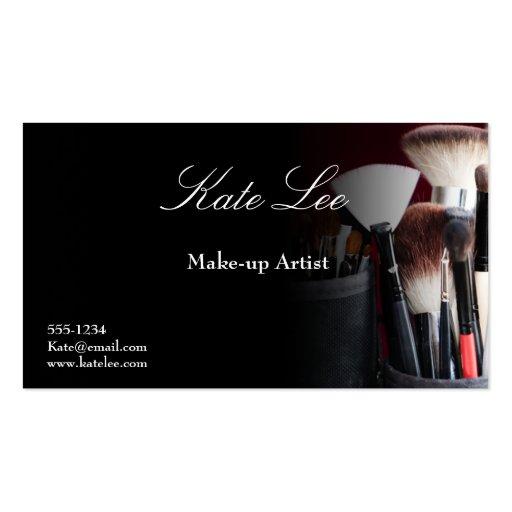 Black Make up brush cosmetology business cards