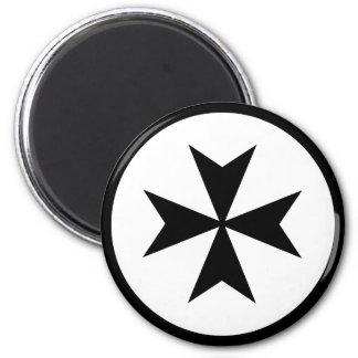 Black Maltese Cross 2 Inch Round Magnet
