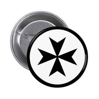 Black Maltese Cross Pinback Buttons