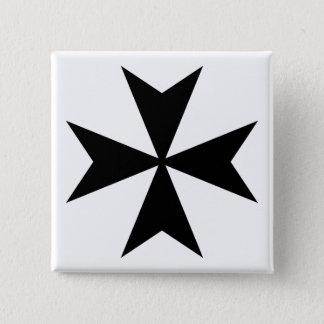Black Maltese Cross Button