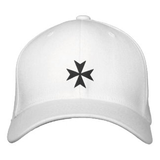 Black Maltese Cross Embroidered Hat