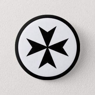 Black Maltese Cross Pinback Button