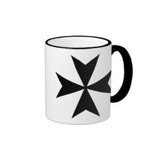 Black Maltese Cross Ringer Coffee Mug