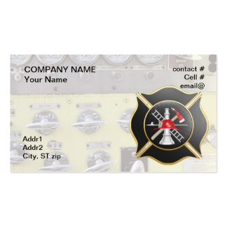 Black maltese  firefighting cross business card template