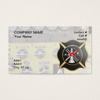 Black maltese  firefighting cross business card