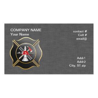 Black maltese  firefighting cross business cards