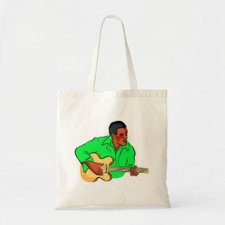 Black man playing electric bass green shirt canvas bags