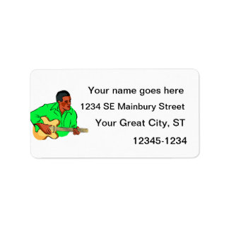 Black man playing electric bass green shirt label